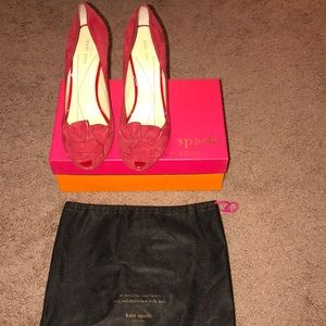 Red Suede open toed pumps